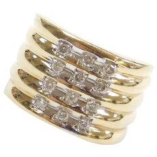 10k Gold Wide .30 ctw Diamond Ring