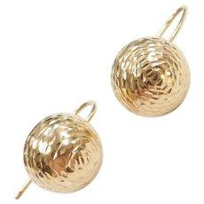 14k Gold Diamond Cut Ball Earrings