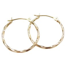 14k Gold Thin Twisted Hoop Earrings