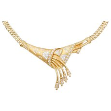 "18"" 21k Gold Faux Diamond Two-Tone Necklace"