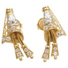 21k Gold Faux Diamond Two-Tone Earrings