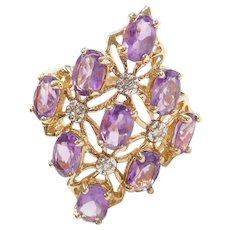 10k Gold Big Amethyst and Diamond Ring