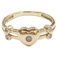 14k Gold Diamond Heart Ring