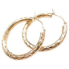 Diamond Cut Hollow Hoop Earrings 14k Yellow Gold