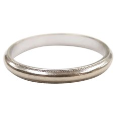 Milgrain Edge Wedding Band Ring 14k White Gold