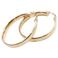 Hollow Hoop Earrings 14k Yellow Gold
