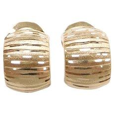 Diamond Cut Striped Hoop Earrings 14k Yellow Gold