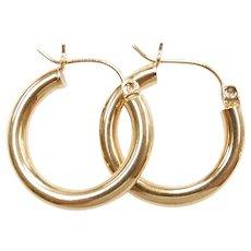 Hollow Tubular Hoop Earrings 14k Yellow Gold