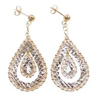 Ornate Diamond Cut Teardrop Dangle Earrings 14k Yellow and White Gold Two-Tone