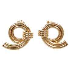 Looping Fashion Stud Earrings 14k Yellow Gold