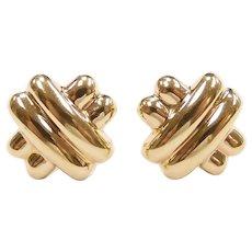 Crisscross X Stud Earrings 14k Yellow Gold
