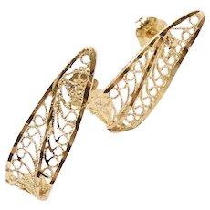 Pierced Filigree J Hoop Earrings 14k Yellow Gold