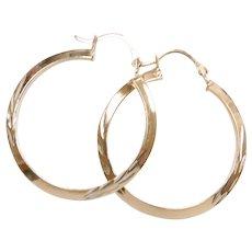 Diamond Cut Knife Edge Hoop Earrings 14k Yellow and White Gold Two-Tone