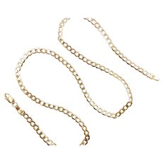 """Hollow Curb Link Chain 10k Yellow Gold 18 1/4"""" Length, 4.5 Grams"""