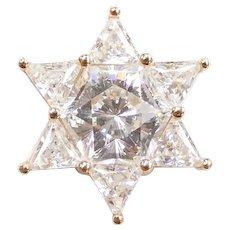 Faux Diamond 6-Pointed Star Slide Pendant 14k Yellow Gold
