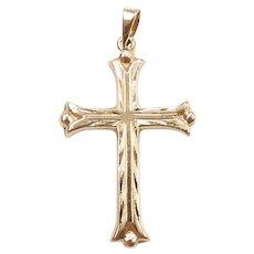 Diamond Cut Religious Cross Pendant 14k Yellow Gold