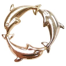 Jumping Dolphin Ring Pendant 14k Yellow, White and Rose Gold Tri-Color