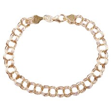 "Triple Link Charm Bracelet 14k Yellow Gold 7 1/2"" Length, 4.1 Grams"