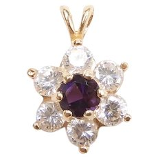 Amethyst and Faux Diamond .80 ctw Flower Pendant 14k Yellow Gold