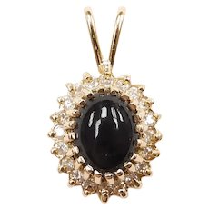Black Onyx and Diamond 2.37 ctw Halo Pendant 14k Yellow Gold