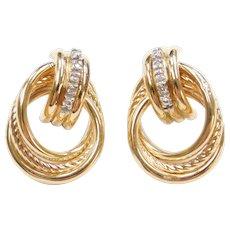 14k Gold Diamond Circle Stud Earrings