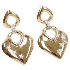 14k Gold Diamond Heart Dangle Earrings