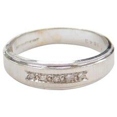 .08 ctw Diamond Wedding Band Ring 14k White Gold
