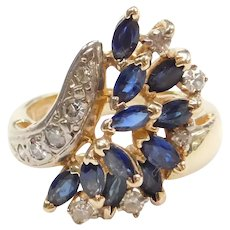 14k Gold Sapphire and Diamond Waterfall Ring