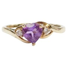 10k Gold Amethyst and Faux Diamond Heart Ring
