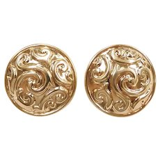 Swirling Ornate Button Stud Earrings 14k Yellow Gold