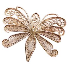 Filigree Butterfly Pin / Brooch 14k Yellow Gold