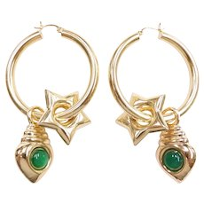 Large Hollow Hoop Earrings with Charms/Jackets Chalcedony Accent 14k Yellow Gold