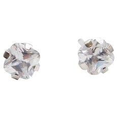 14k White Gold Faux Diamond Stud Earrings