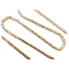 "Gents / Men's Solid Byzantine Chain / Necklace 14k Yellow Gold 20 1/4"" Length, 40.4 Grams"