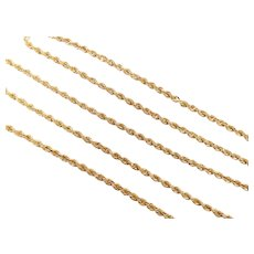 "Long Solid Rope Chain 18k Yellow Gold 28 1/2"" Length, 28.6 Grams"