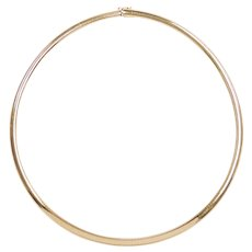 "Solid Omega Chain Necklace 14k Yellow Gold 19"" Length, 43.2 Grams"