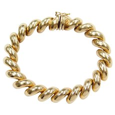 "7 1/8"" 14k Gold San Marco / Macaroni Link Bracelet"