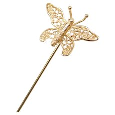 14k Gold Filigree Butterfly Stick Pin