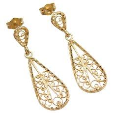 14k Gold Filigree Teardrop Earrings