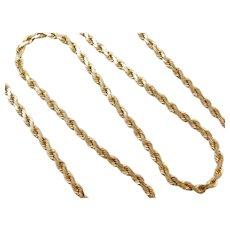 "20"" 14k Gold Flat Diamond Cut Rope Chain ~ 17.3 Grams"