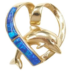 14k Gold Created Opal Inlay Dolphin Heart Slide Pendant