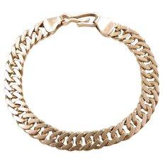 "Gents Solid Curb / Miami Cuban Link Bracelet 10k Yellow Gold 8 1/2"" Length, 37.0 Grams"