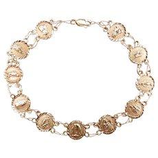 "Religious Virgin Mary and Saints Bracelet 10k Yellow Gold 7 7/8"" Length, 5.0 Grams"