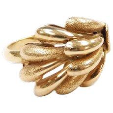 Domed Spray Ring 18k Yellow Gold