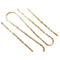 """Solid Diamond Cut Rope Chain 14k Yellow Gold 18 1/2"""" Length, 11.6 Grams"""