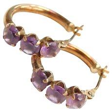 10k Gold Amethyst Hoop Earrings
