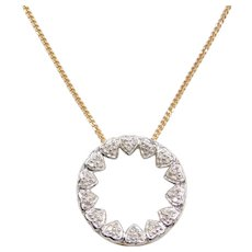 10k Gold Diamond Heart Circle Necklace ~ MOM
