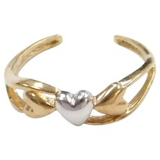 10k Gold Two-Tone Heart Toe Ring