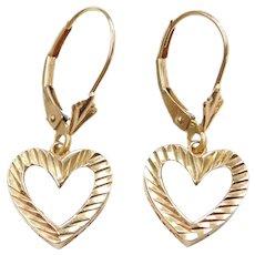 10k Gold Diamond Cut Heart Lever Back Earrings