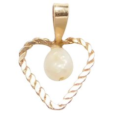 10k Gold Freshwater Pearl Heart Pendant